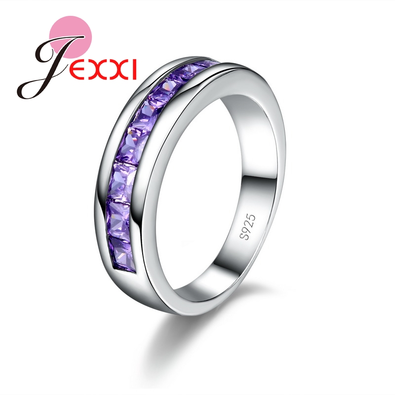 Fashion Women Jewelry Purple Rings For Lady Elegant 925 Sterling Silver Wedding Engagement Ring For Women