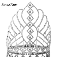 StoneFans Big Pageant Miss Universe Crown And Tiara Square Unique Large Copper Tiaras And Crown Festival Gifts Women Rhinestone