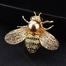 Insect Series Women Delicate Little Bee Brooches Crystal Rhinestone Pin Brooch Jewelry Gifts For Girl брошь пчела