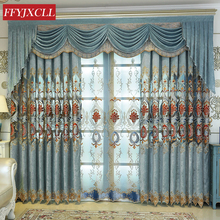 Luxurious Quality Embroidered Blue Curtains For living Room Bedroom Tulle Curtains Window Treatment Drapes Home Decor beige polyester flannel europe embroidered blackout curtains for living room bedroom window tulle curtains home hotel villa