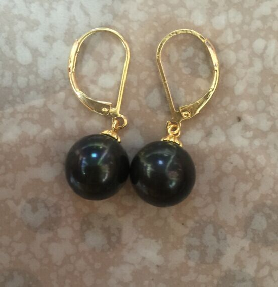 pair of stunning 10-11mm round tahitian black pear danglel earring 14 цена