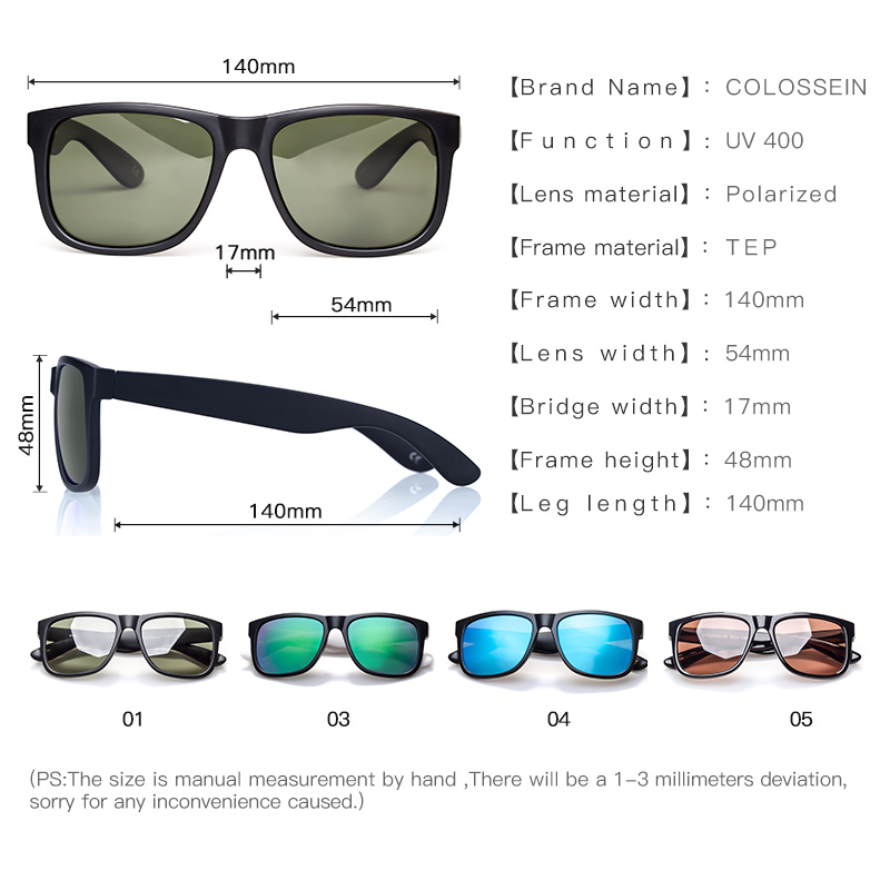 Sunglasses Men Classic Fashion Formal Square Black Frame Polarized Sun Glasses Male Fishing Driving Eyewear UV400 in Men 39 s Sunglasses from Apparel Accessories