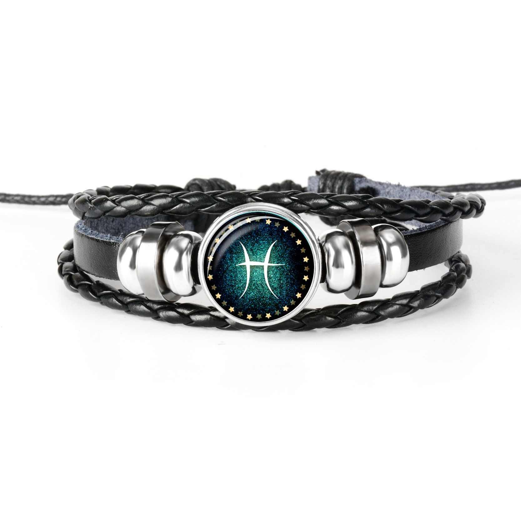 Nowy 12 konstelacji Luminous bransoletka mężczyźni skórzana bransoletka wisiorek bransoletki baran ryby Aquarius Leo Libra Gemini biżuteria prezent