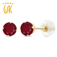 1 12 Ct Round Red Ruby 10K Yellow Gold 4 Prong Stud Earrings 5mm
