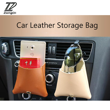 ZD 1X Car Air outlet mobile phone pocket Leather storage bag For BMW e39 e90 Toyota corolla avensis Peugeot 206 307 accessories image