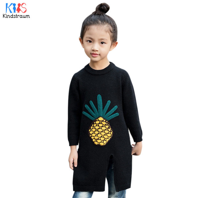 Kindstraum 2017 New Winter Children Pineapple Sweater Top Quality Girls Cotton Knitted Sweater Spring O-neck Wear,RC1049