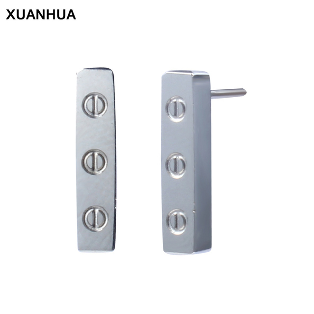 XUANHUA minimalist stud earrings silver stainless steel jewelry bijouterie fashion brincos jewellery gifts for women accesories