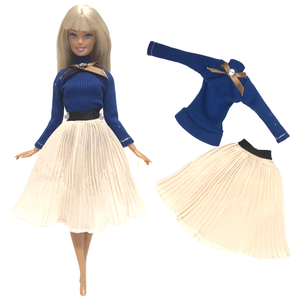 NK One Set Doll Dress Top Fashion Outfits Skirt Handmade Clothes For Barbie Doll Accessories Gift Baby Toys 268A 5X