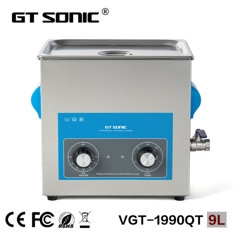 GT SONIC 9L heating ultrasonic cleaner tank with free basket  ultrasonic cleaning bath VGT-1990QT free basket derui sonic cleaners with multi function water proof dr p40 4l
