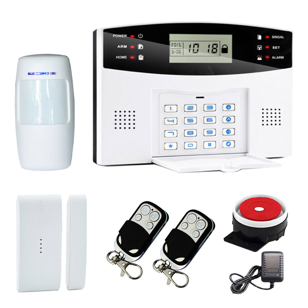 LCD Keyboard Voice Wireless Home GSM Alarm System House Burglar Door Security Systems LCC77 wireless sms home gsm alarm system 7 lcd keyboard ru sp eg fr it voice house intelligent auto burglar door security alarm system