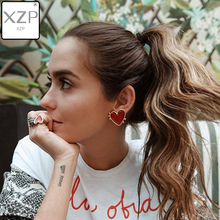 XZP 2019 New Design Punk Gold Edge Red Enamel Heart Stud Earrings For Women Bohemian Big Earring Christmas Jewelry Gift