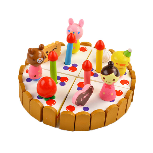 New Kids Toys girls Birthday Cake Children Wooden Cake Kitchen Toys Cake Woody Puddy Pretend Toys Brinquedos de montar ZS036