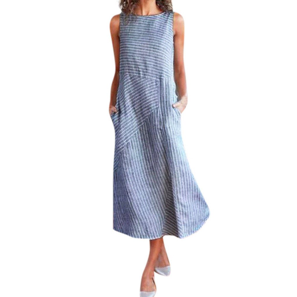 HTB1tt6xXCWD3KVjSZSgq6ACxVXaY - Women Summer Dress Casual Striped Sleeveless Maxi Dress Crew Neck Linen Pocket Party Long Dresses