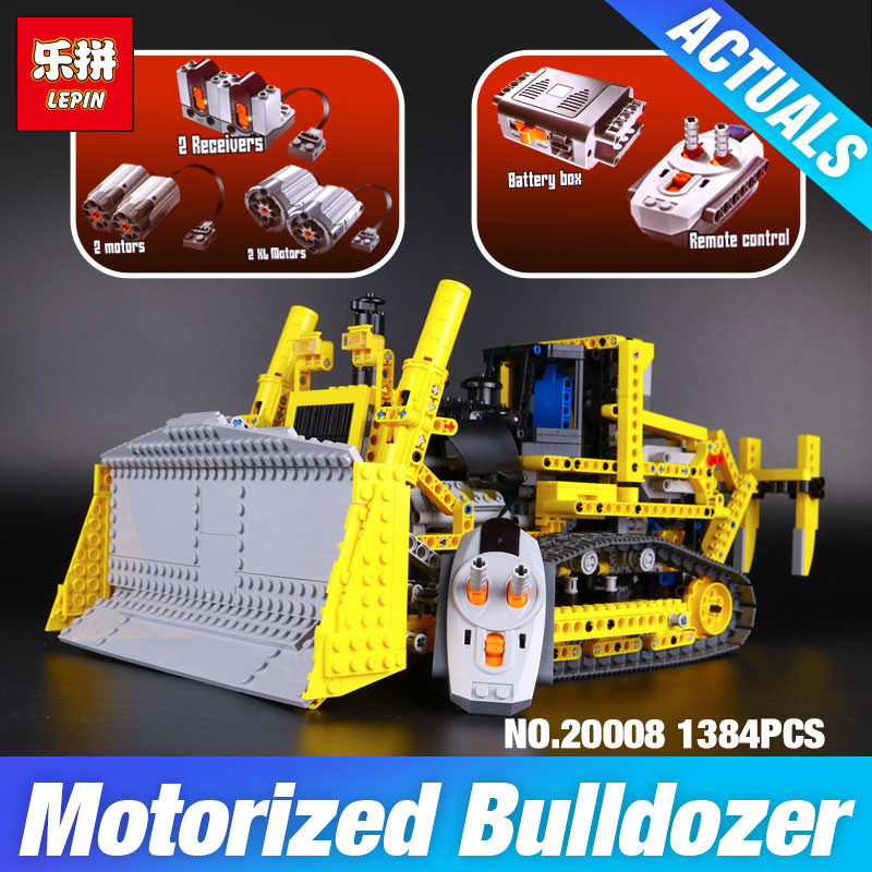 LEPIN 20008 technic series remote control the bulldozer Compatible with 42030 Model Building block Bricks kits Toys for Children lepin 20008 technic series remote contro lthe bulldozer model assembling building block bricks kits compatible with 42030