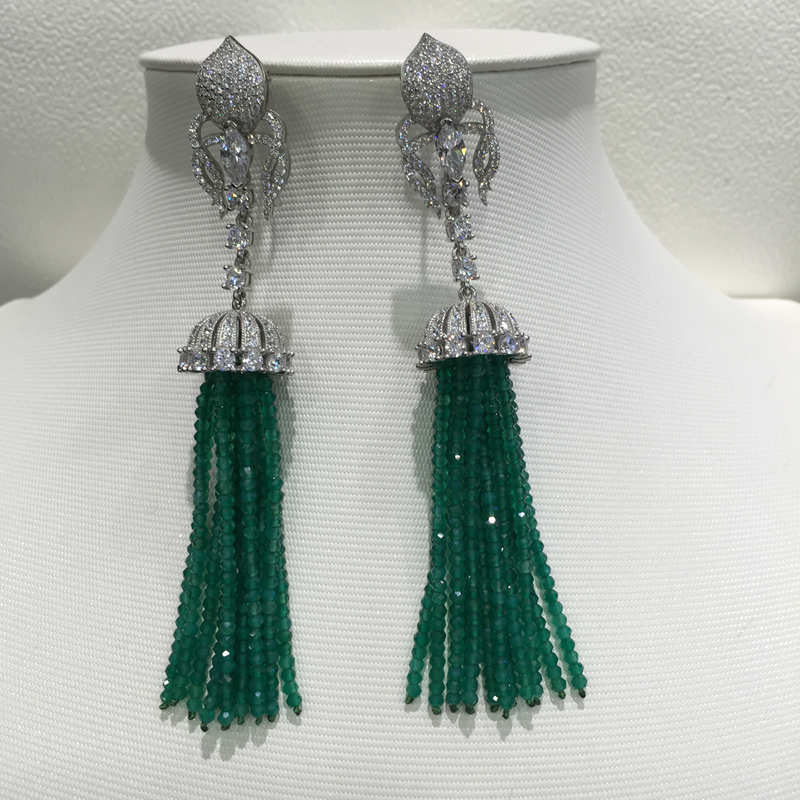 Длинные кисточки падение серьги 925 серебро с Кубического Циркония Природных полудрагоценный камень зеленый цвет нескольких слоев моды