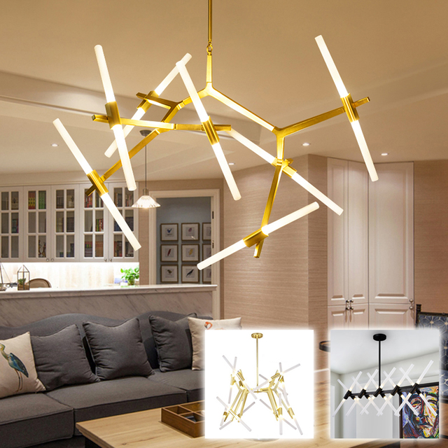 Roll Hill Tube Tree Branch Gold Simple Ceiling Hanging Light Lamp Rotatable  Adjustable Modern LED Pendant