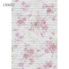 Laeacco Blooming Flowers Pattern Brick Wall Baby Scene Photography Backgrounds Custom Photographic Backdrops For Photo Studio