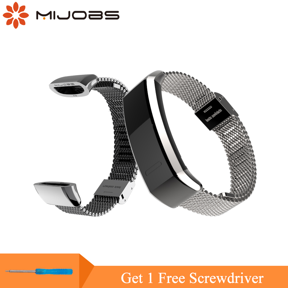Mijobs Metal Strap for Huawei Sport Band 2 pro B29 B19 Smart Watch Wristband Replacement Wrist Strap for Huawei Watch Bracelet strap