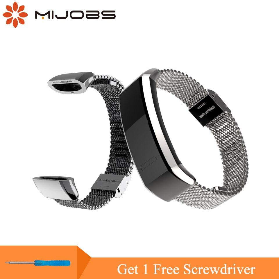 Mijobs Bracelet En Métal pour Huawei Sport Bande 2 pro B29 B19 Montre Smart Watch Bracelet Remplacement Dragonne pour Huawei Montre bracelet