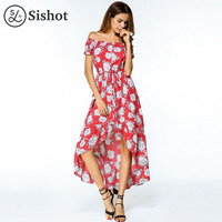 Sishot Women Bohemia Dresses 2017 Summer Autumn Red Floral Printed Asymmetric Short Sleeve Mid Calf Slash