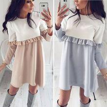 2017 esik divat öltés hajt egyenes ruhát nő esik patchwork varrás hosszú ujjú O-gyűrű divat kétszínű ruha
