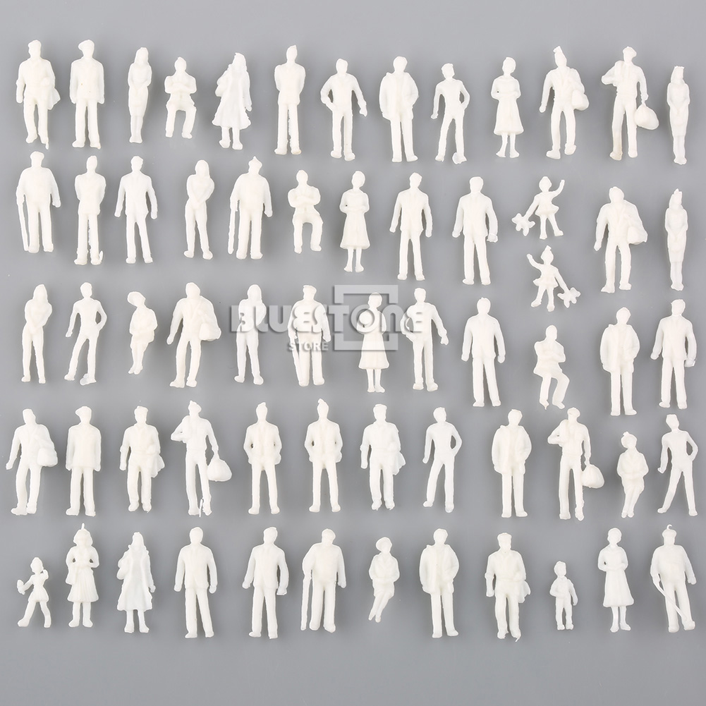 Pack Of 100 Scale 1:150 Gauge N Model Railway White Unpainted Figure People