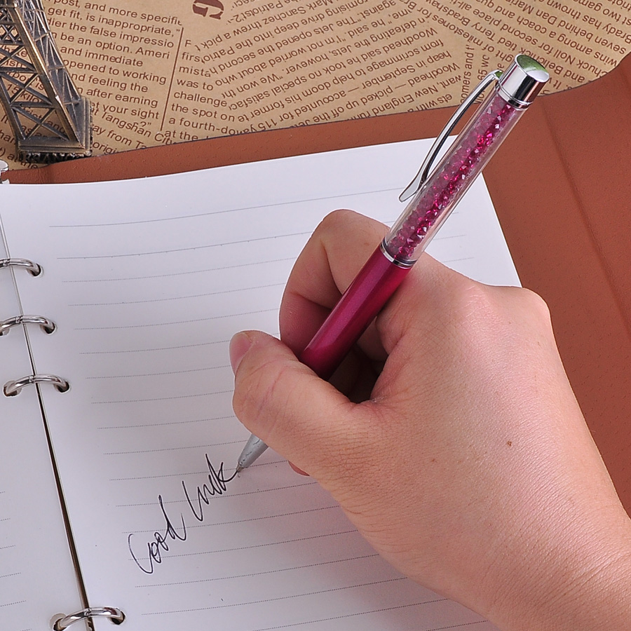 10Pcs/lot Kawaii School Office Writing Stationery Ballpoint Pen Luxury Crystal Diamond Roller ball Pen Metal Pens Free Shipping