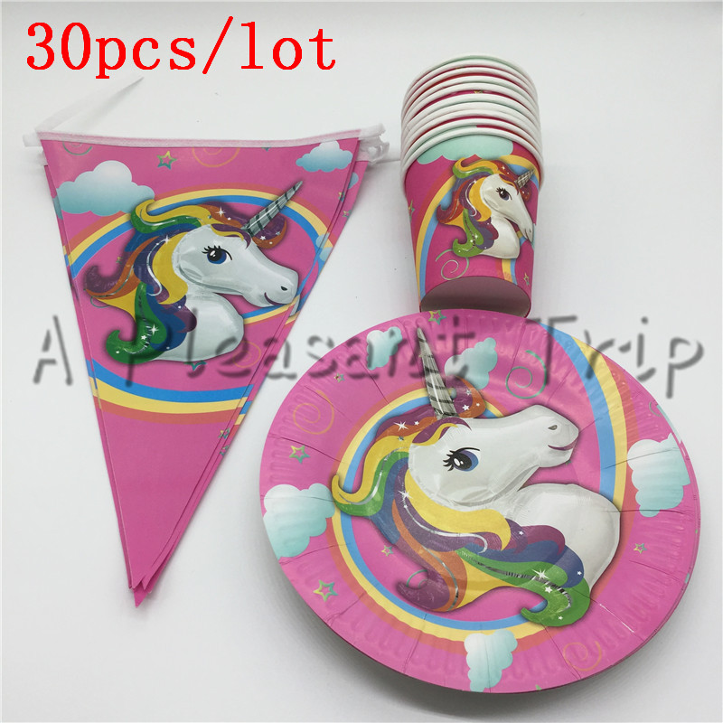 30 pcslot Cartoon Unicorn Kids Favors Tablecloth Happy Birthday Party Napkins Decoration Paper Plates Cups Baby Shower Supplies