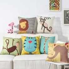 Animal Cushion Covers Monkey Elephant Cat Lion Giraffe Pillowcase 45*45CM Childrens Room Kindergarten Decorative Pillow