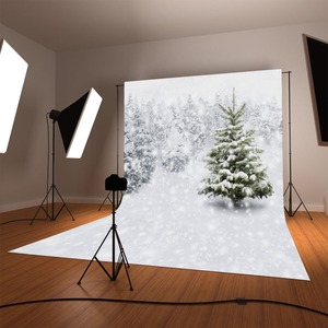 Image 2 - Funnytree photo studio background winter wonderland white snow trees frozen outdoor photography backdrops christmas photocall