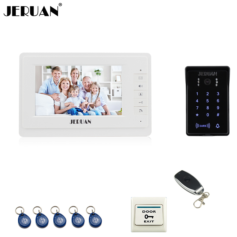JERUAN Wired 7`` LCD video doorphone intercom system White monitor 700TVL RFID waterproof Touch Key password keypad camera jeruan wired 7 touch key video doorphone intercom system kit waterproof touch key password keypad camera 180kg magnetic lock