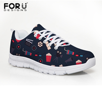 FORUDESIGNS Women Sneakers Flatform Movie Print Spring Mesh Shoes Casual Shoes Femme Lace Up Shoes Zapatillas Deportivas Mujer