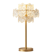 Modern Simple Luxurious Creative Table Lamps Clear Crystal Lampshade Copper Living Room Studio Bedroom