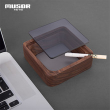 Solid wood ashtray with cover Creative gift for men and women ashtray Home decoration wood products Ashtray