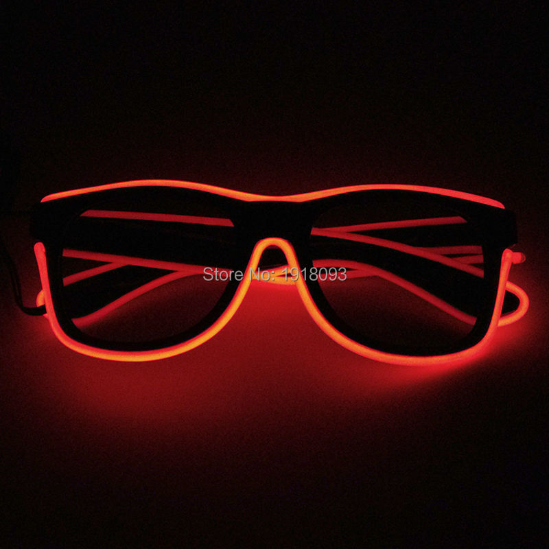 With dark lens EL Wire Glowing Glasses 20pieces Wholesale Glasses Event Glow Party Holiday Lighting Props Decoration steady on inverter el wire glowing hip hop cap led strip light up glowing product make up party glow props for party supplies