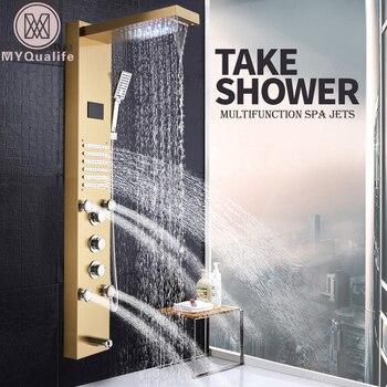 Panel de ducha dorado con luz LED, columna de ducha para baño, torre, mezcladores de ducha con pantalla Digital, chorro de agua y lluvia