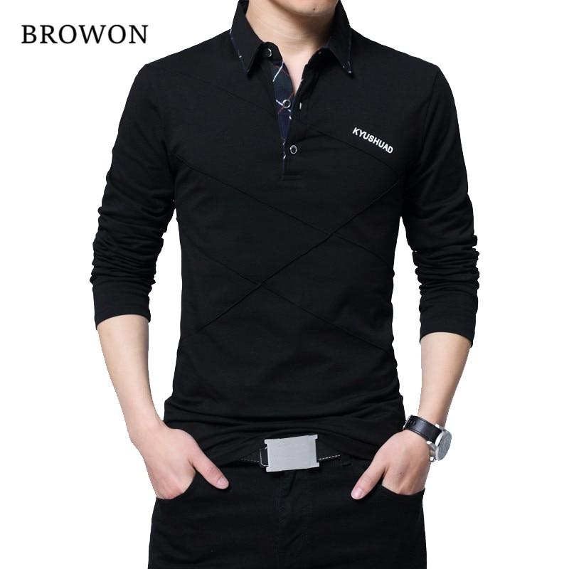BROWON Hot Sale   T     Shirt   Men Long   T  -  shirt   Turn-down Stripe Designer   T  -  shirt   Slim Fit Loose Casual Cotton   T     Shirt   Male Plus Size