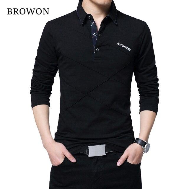 BROWON ホット販売 Tシャツメンズロング Tシャツターンダウンストライプデザイナー Tシャツスリムフィットゆるいカジュアルな綿の T シャツ男性プラスサイズ