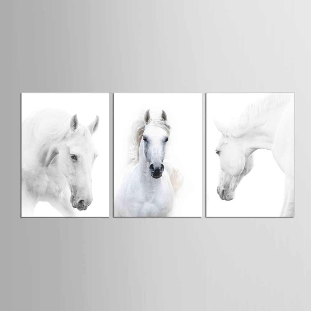 3 pieces HD Canvas Prints Home Decor Wall Art Painting White Running Horse Modern Art