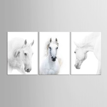 3 pieces HD Canvas Prints Home Decor Wall Art Painting White Running Horse Modern