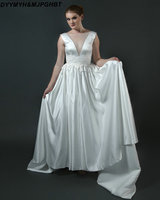 White Satin Wedding Dresses Illusion V Neck Lace Up Back Chapel Train Appliques Wasit Long Bridal Gowns Sposa