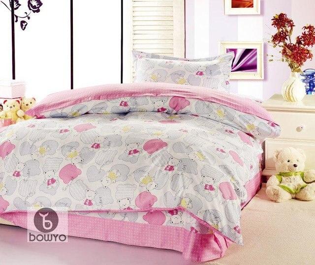 New design in a bag duvet cover 100% cotton lovely pink grid design cartoon bear 3pc queen size kids bedding set