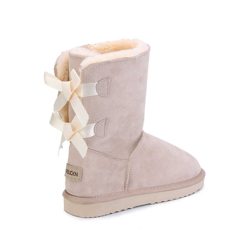 HABUCKN 2018 haute qualité marque femmes hiver bottes de neige en cuir véritable bottes de neige femme botas lacets pour chaussures zapatos