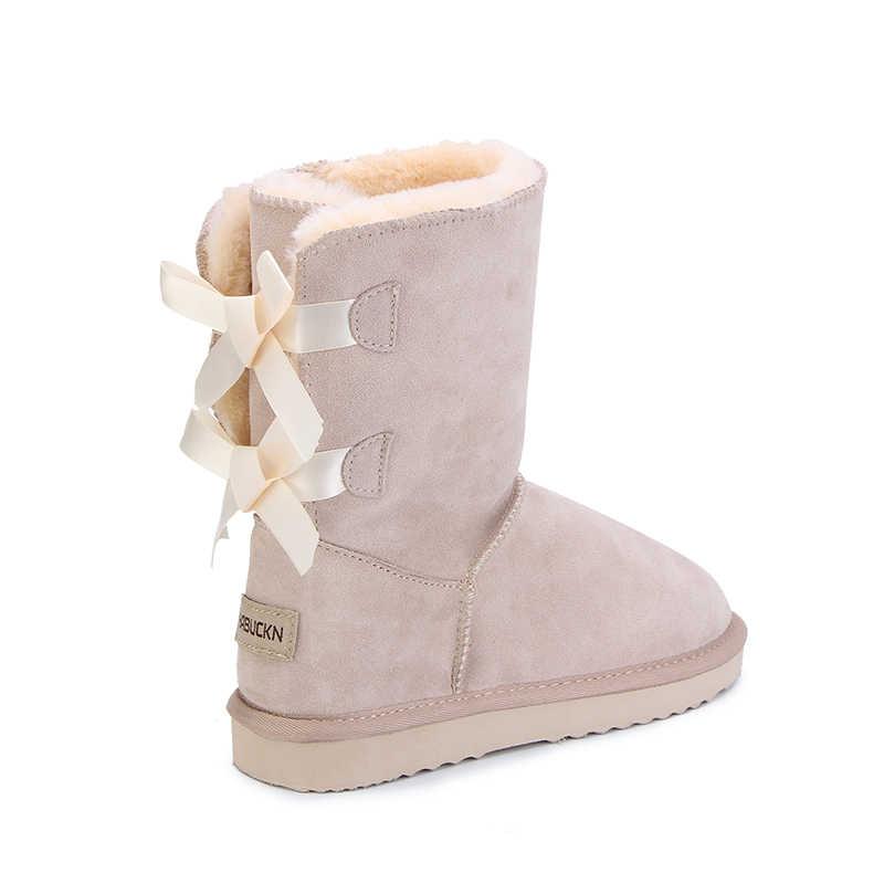 HABUCKN 2018 באיכות גבוהה מותג נשים חורף שלג מגפי עור אמיתי snowboots נשי botas שרוכי עבור הנעלה zapatos