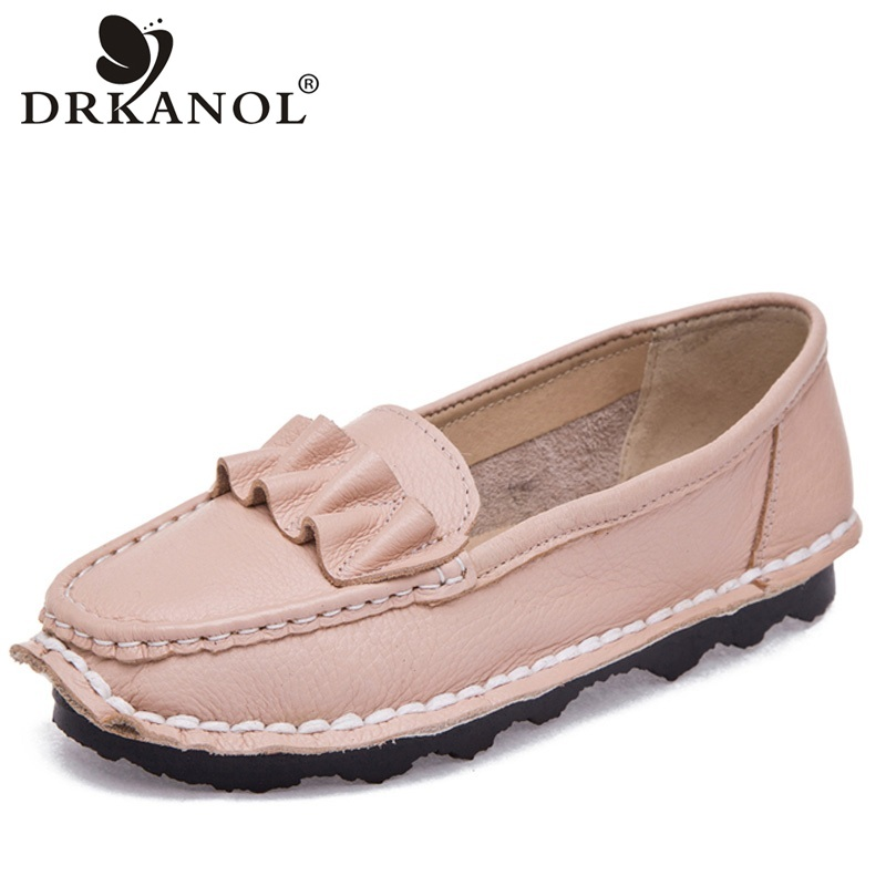 DRKANOL 2018 Handmade Genuine Leather Slip On Casual Loafers Women Flat Shoes Autumn Women Flats Moccasins Ladies Driving Shoes new suede leather women shoes loafers slip on sewing driving flats tassel woman breathable moccasins blue ladies boat flat shoes
