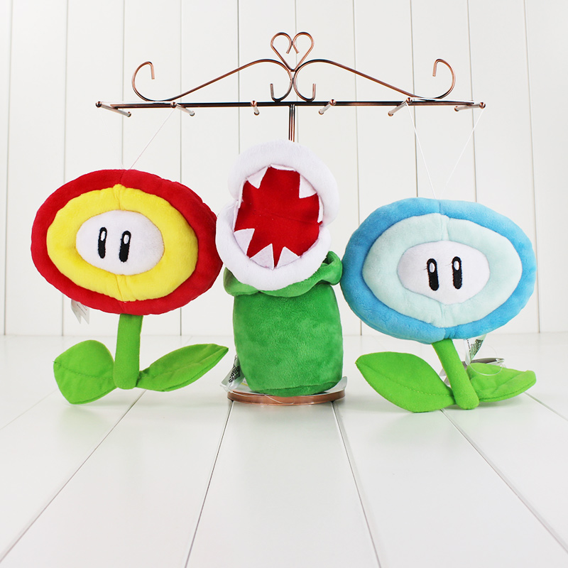 New Super Mario Bros Ice Fire Flower Plush Doll Toys Stuffed Soft Sun Flower Flying Yoshi
