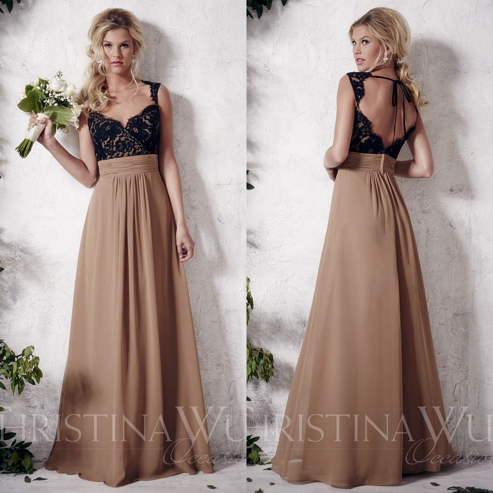 99d2a97a49f Scalloped Open Back Bridesmaid Gown Black And Bronze Long Sweetheart  Neckline Glamorous Floor length Hemline-in Bridesmaid Dresses from Weddings    Events on ...