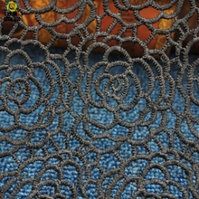 Water-soluble black clothing fabric Lace accessories Polyester three-dimensional embroidery lace Big fish net hollow material