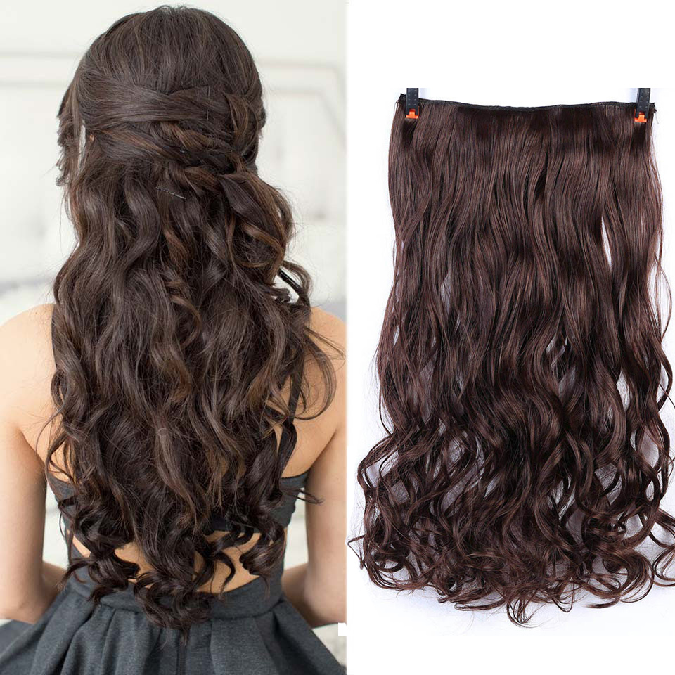 AOSIWIG 24 Colour Long Clip in ins hair Extensions synthetic 100% real natural hair Extentions 1 Piece Black Brown