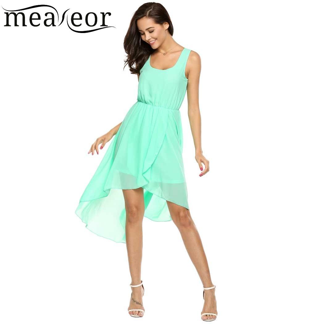 92b5f562801a Detail Feedback Questions about Meaneor Asymmetric Hem Chiffon Dresses  Women Elastic Waist Slim Long Dress with Lining Solid Casual Summer Dress  for Beach ...